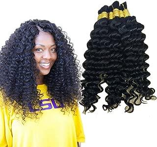 Hannah product Bulk Hair For Braiding Human Hair Deep Curly Wave No Weft Wholesale Human Hair Bulk In Factory Price 3 Bundles 300g Brazilian (26 26 26 Natural Black #1B)