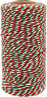 Bakers Twine Green White and Red, Christmas Twine Cotton Twine Packing String for Gardening, Decoration, Tying Cake and Pastry Boxes, DIY Crafts & Gift Wrapping(2 mm/328Feet)