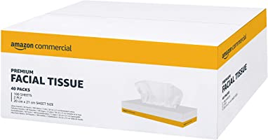 AmazonCommercial 2 PLY Facial Tissues, Pack of 40, 4000 tissues