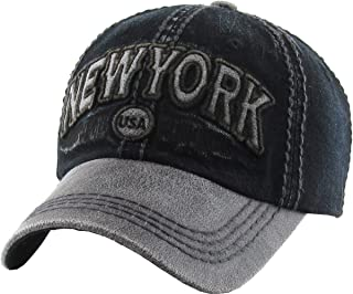New York Collection NY Vintage Distressed Baseball Cap Dad Hat Adjustable Unisex