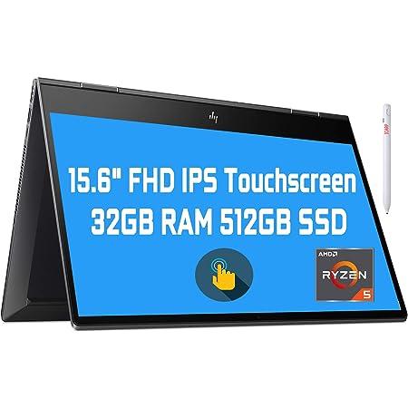 "Flagship 2021 HP Envy 15 x360 2 in 1 Laptop 15.6"" Diagonal FHD IPS Touchscreen Display AMD 6-Core Ryzen 5 4500U 32GB RAM 512GB SSD Fingerprint Backlit Wifi6 USB-C HDMI B&O Win10 + Pen"
