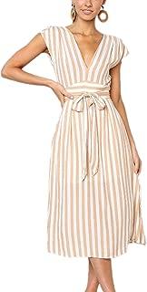 Aromelle Womens Summer Dresses Boho Striped Button V Neck Sleeveless Bow Tie Waist A Line Midi Skater Dress