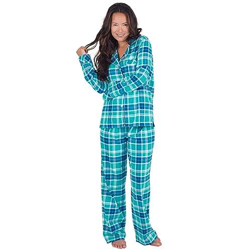 PajamaGram Flannel Pajamas Women Plaid - Button Front Womens Pajama Sets c1887d251