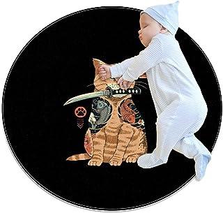 Samurajkatt, barn rund matta polyester kasta område matta mjuk pedagogisk tvättbar matta barnkammare tipi tält lekmatta