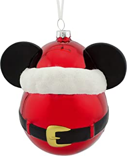 Hallmark Christmas Ornaments, Disney Mickey Mouse Icon With Santa Hat Blown Glass Ornament