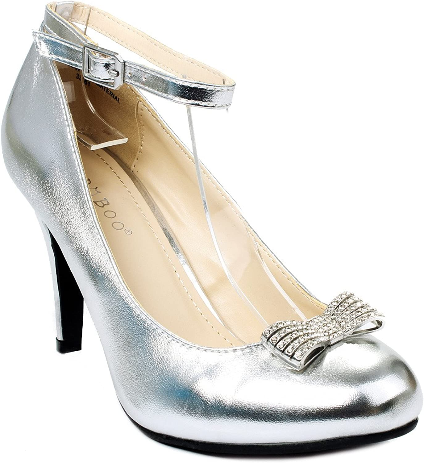 Bamboo Boutique-84 Silver Rhinestone Bow Ankle Strap Formal Dress Pump shoes-7.5