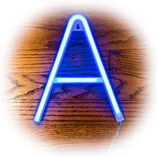 ZOLED Blue Neon Letter Lights | PVC LED Neon Light Signs Available in A Through Z | Bright Sturdy Custom Neon Lights | Decor for Home, Events, Bars, Marquees, Weddings | Neon Signs by ZOLED (Letter A)