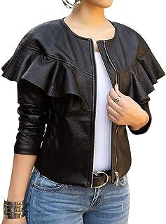 Lovecarnation Women Sexy Short Coat Jacket Zip Up Long Sleeves Ruffle Faux Leather PU Jacket