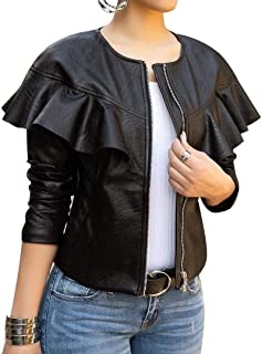 Women Sexy Short Coat Jacket Zip Up Long Sleeves Ruffle Faux Leather PU Jacket