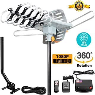 TV Antenna -Outdoor Amplified HDTV Antenna 150 Mile Motorized with Adjustable Antenna Mount Pole for
