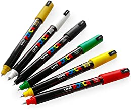 Posca PC-1MR Anime Set - 6 Pens in Plastic Wallet - Red, Yellow, Green, Black, White, and Gold