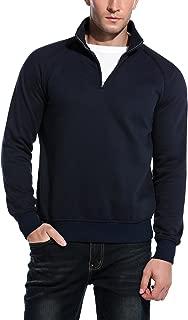 Men's Relaxed Fit Mock Neck Polo Quarter Zip Pullover Collar Sweatshirt