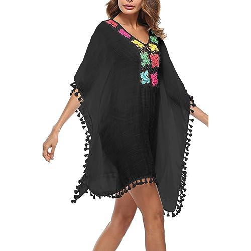 e9fe35451 Zilcremo Mujer Ropa de Baño Bikini Cover up Cubrir Suelto Tunica Bohemios  Vestido de Playa Borla