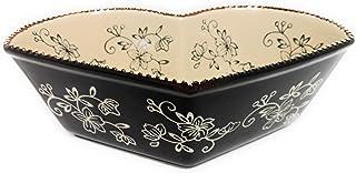 Temp-tations Heart Baker, Bake & Serve, 1 Qt, Casserole or Side Dish (Floral Lace Black)