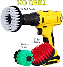 "HIFROM 3"" 5"" Drill Brush Soft Medium Stiff Bristle Scrub Attachments Cleaning Kit for Glass Tile Flooring Bathrooms Tile Grout Glass Carpets Upholstery Bathtub Porcelain"