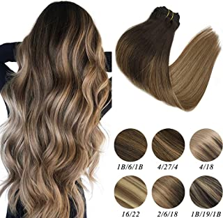 Labeh Hair Extensions Clip In Human Hair 7pcs 120g Ombre Dark Brown #2 Highlighted #6 Light Brown #18 Ash Blonde Balayage Clip In Hair Extensions 20inch