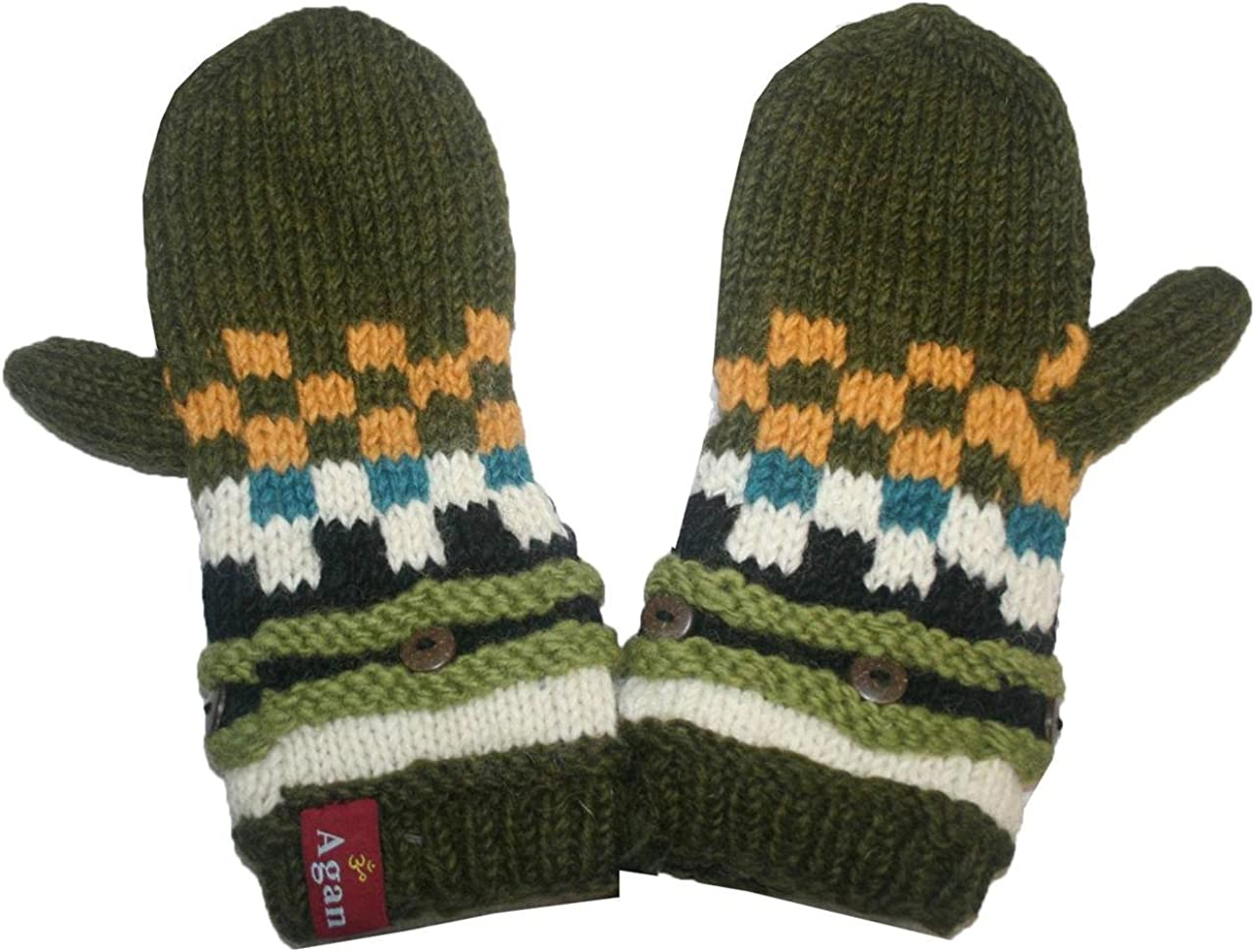 Agan Traders Assorted 1402 Women's Knit Wool Thick Beanie Hat Mitten Fingerless Glove Chunky Warm Fleece From Himalaya