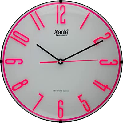 Ajanta Plastic Silent Movement Round Wall Clock for Home/Kitchen/Living Room/Office (Pink)
