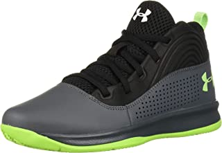 Under Armour Kids' Pre School Lockdown 4 Basketball Shoe, Pitch Gray (101)/Black, 3