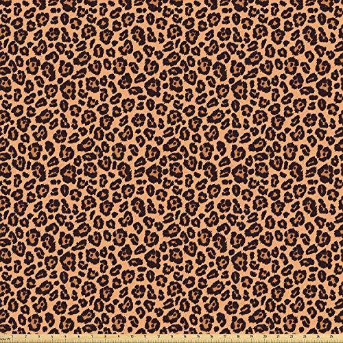 ABAKUHAUS Leopard Print Stof per strekkende meter, Oranje exotische Afrikaanse, Stretch Gebreide Stof voor Kleding Naaien en Kunstnijverheid, 5 m, Orange Black