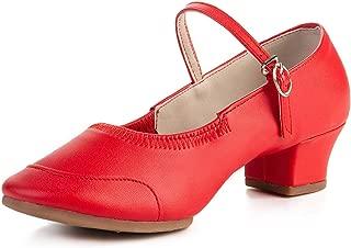 Womens Girs Dance Shoes Practice Low Heel Ballroom Latin Salsa Party Tango Wedding Performance Leather Shoe