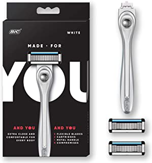 Made For YOU by BIC Shaving Razor Blades for Every Body – Men & Women, with 2..