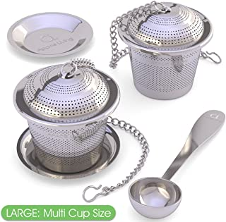 Large Tea Infuser (Set of 2) with Tea Scoop and Drip Trays by Apace – Multi Cup Size Stainless Steel Loose Leaf Tea Strainer and Steeper