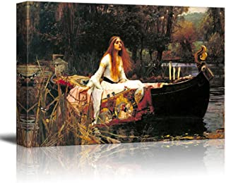 wall26 The Lady of Shalott by John William Waterhouse Famous Fine Art Reproduction World Famous Painting Replica on ped Print Wood Framed - Canvas Art Wall Decor - 24