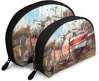 Anonymous Guest Shell Shape Cute Modern Art Travel Cosmetic Bags Practical Bag with Zipper