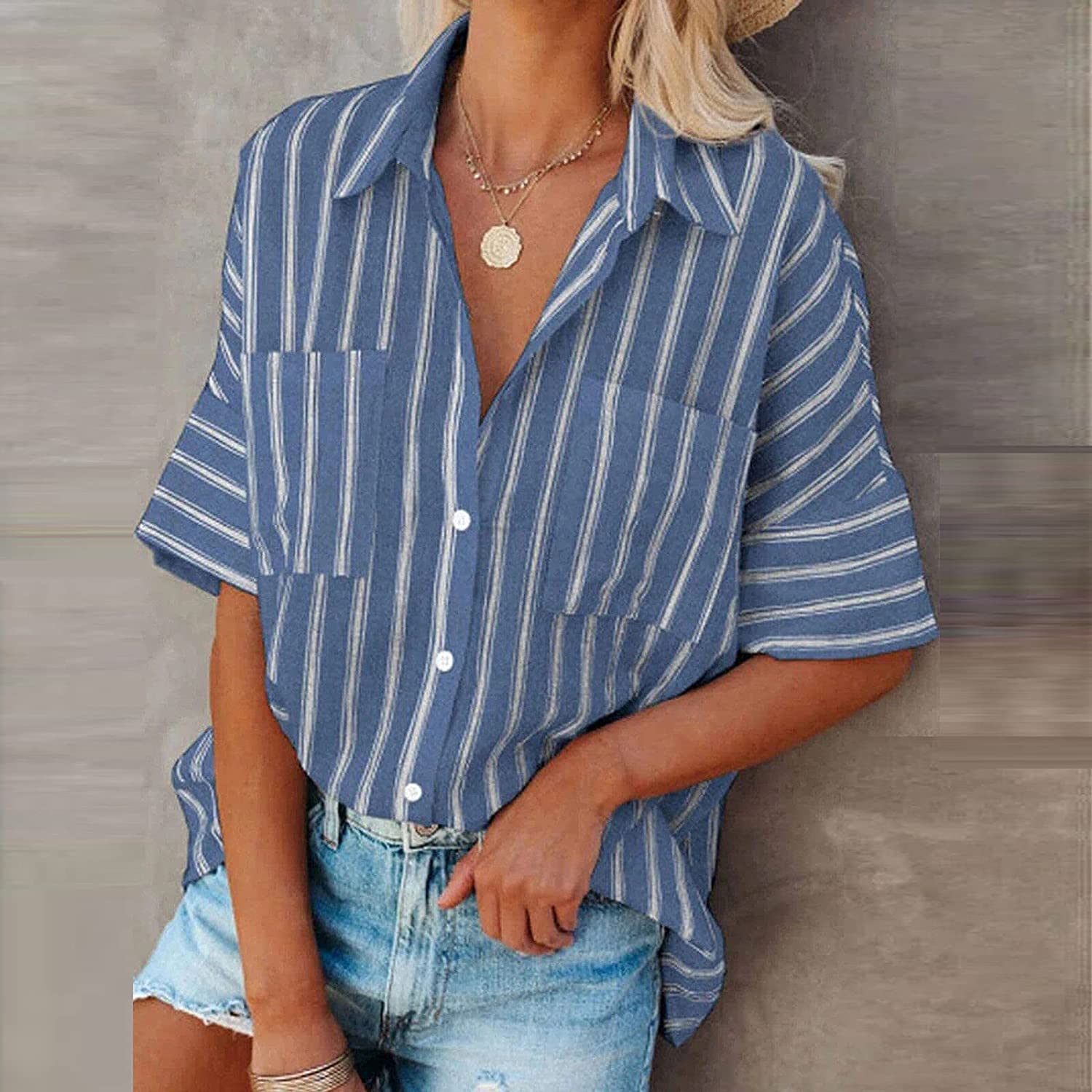 Casual Loose Fit Pocket Shirts for Women Comfy Cute Striped Button Down Tunic Tops Blouse