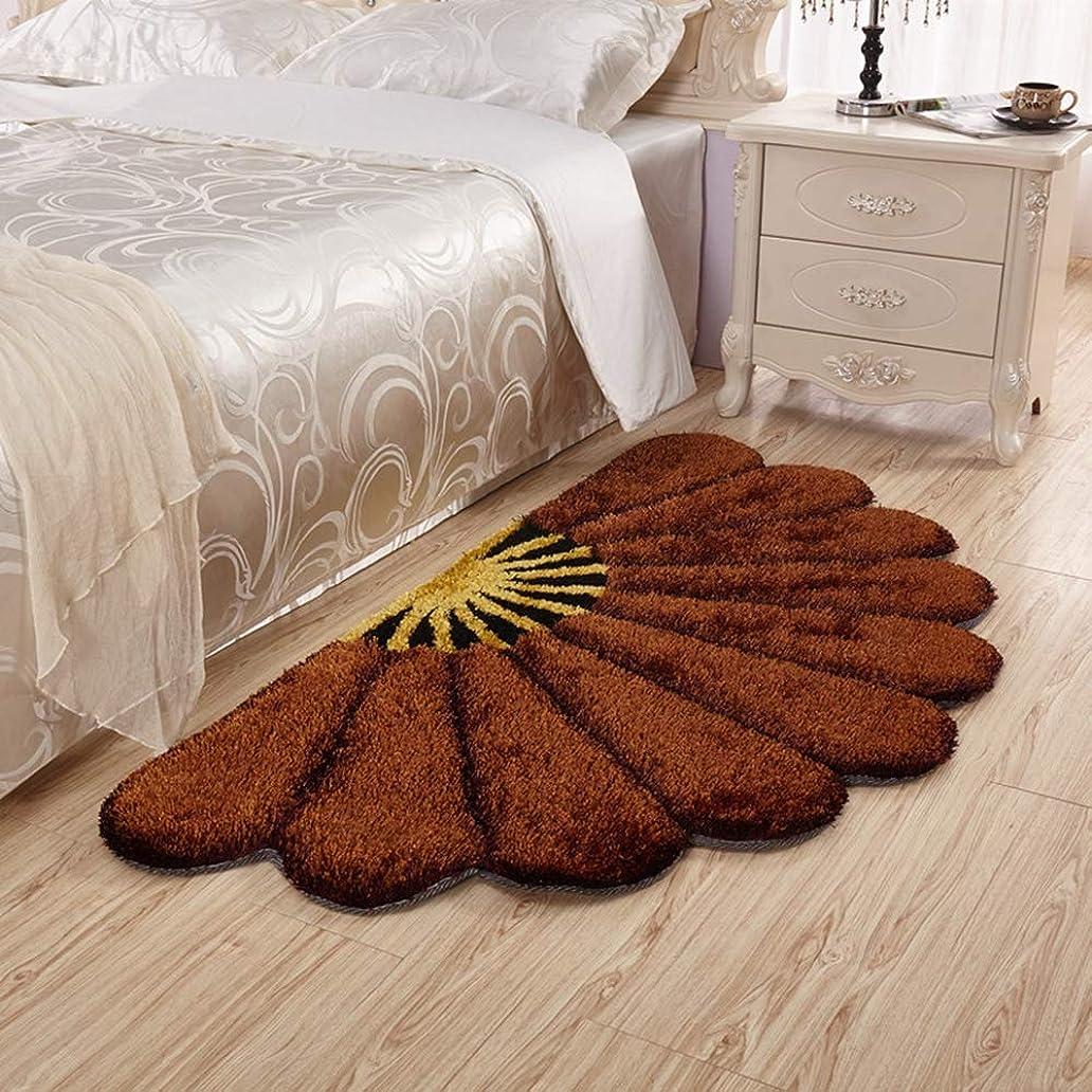 太陽素朴な形式ラグマット 80 x 80*150 150 cm 洗える 滑り止め付き シャギー 玄関マット 厚手 セクター 半円形 花柄 シャギーラグ 絨毯 ふわふわ ブラウン 床暖房対応 ブルー 防ダニ 吸水