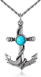ZiWuark Mens Anchor Necklace Pendant Stainless Steel Turquoise Necklaces Nautical Anchor Pendant Jewelry for Men Women Boy...