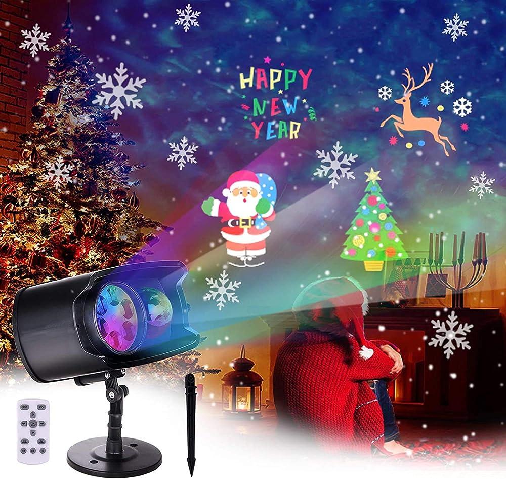 backture proiettore luci natale, faretti led illuminazione ip65 impermeabile incorporate 9 scene e 13 scene di hearmarket