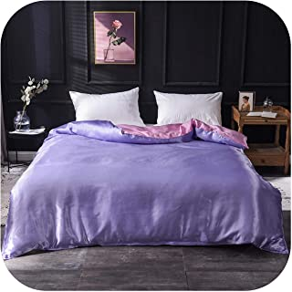 Bed Sheet:1Pcs Duvet Cover Solid Color Satin Silk Single Double Queen King Quilt Cover Advanced Home Hotel Bed Soft Qualif...