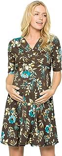 Women's Overlay Printed Baby Shower Nursing Maternity Wrap Dress