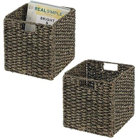 mDesign boîte de rangement en lot de 2 – panier tressé en algues naturelles – accessoire de rangement idéal pour l'organisation dans une étagère – noir