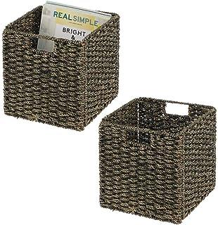 mDesign boîte de rangement en lot de 2 – panier tressé en algues naturelles – accessoire de rangement idéal pour l'organis...