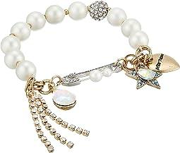 Star & Stone Charm Pearl Stretch Bracelet