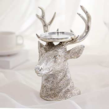 "GiveU Sliver Reindeer Figurines Ideal for LED and Pillar Candles, Table Centerpiece for Wedding, Party, Decoration, 9"", Antique Silver Home Furnishing Crafts"