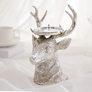 GiveU Sliver Reindeer Figurines Ideal for LED and Pillar Candles, Table Centerpiece for Wedding, Party, Decoration, 9