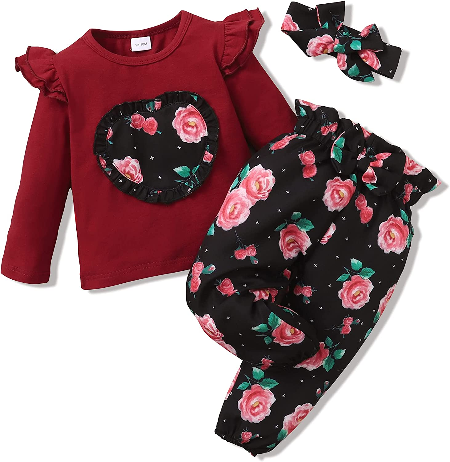 Toddler Girl Clothes Cute Baby Girl Outfit Love Heart Ruffle Top Floral Headband Pants Set 12M-4T