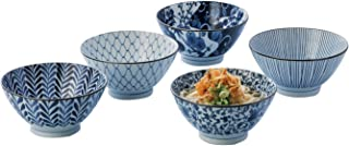 反 丼 5個 セット 直径 18 cm 藍 絵変り 化粧箱入 日本製 31756