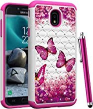CAIYUNL for Samsung Galaxy J3 2018 / J3 Achieve/Express Prime 3 /Amp Prime 3 / J3 Orbit / J3 Star Studded Rhinestone Crystal Bling Dual Layer Hybrid Protective Armor Case Cover -Hot Pink Butterfly