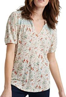 Lucky Brand Women's FLORAL PRINTED PEASANT TOP Shirt