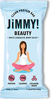 JiMMYBAR! Boosted Clean Protein Bars, Beauty Bar, White Chocolate Berry Bliss, Bovine Collagen Protein Bar, Supports Healthy Hair, Skin and Nails, 2.13 Ounce, 12 Count