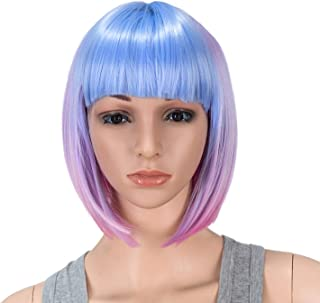 SWACC 10 Inch Blue Pink Ombre Multi-Colored Short Straight Bob Wig with Bangs Synthetic Colorful Cosplay Daily Party Flapper Wig for Women and Kids with Wig Cap