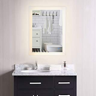 """CO-Z Dimmable LED Bathroom Mirror, Plug-in Modern Rectangle Lighted Wall Mounted Mirror with Lights&Dimmer, Contemporary Fog-Free Vanity Cosmetic Backlit Touch Bathroom Mirror Over Sink (24"""" x 30"""")"""