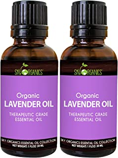 Lavender Essential Oil by Sky Organics (1oz x 2 Pack) 100% Pure Therapeutic French Lavender Oil for Diffuser Aromatherapy ...