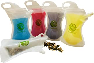 Reusable Food & Drink Pouch Container - Sealable, Eco-friendly, Heavy-Duty Smoothie Bags for On-The-Go Consumption | Stores Juices, Purees, Snacks, Cocktails & More | 10-10oz Plastic Squeeze Pouches