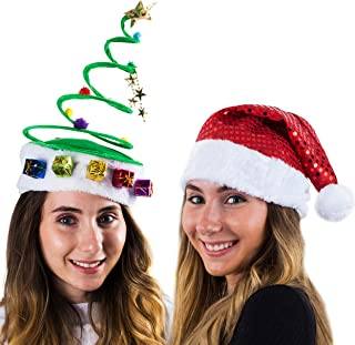 Funny Party Hats Santa Hat - Elf Hat - Christmas Tree Hat - Antler Headband - (2 Pc)